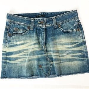 Sisley Distressed Denim Skirt Size 4 NWOT